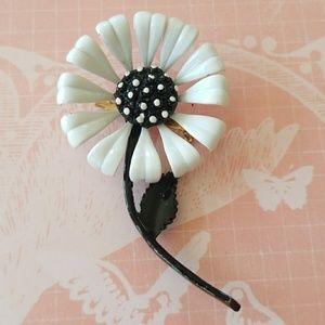 Vintage Daisy with Stem Enamel Flower Brooch Pin